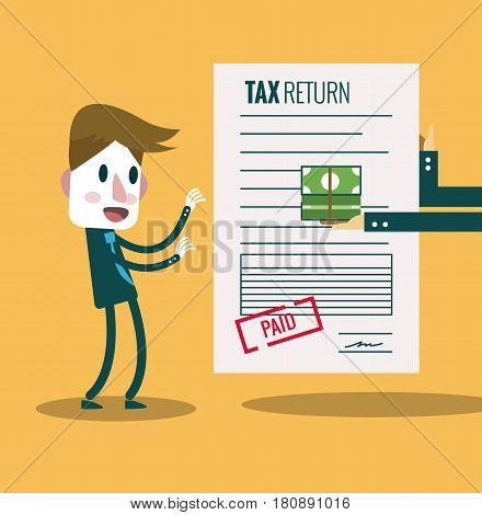 Businessman get paid bill and money return.Tax return concept. flat design elements. vector illustration