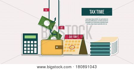 Tax time concept. website banner template poster icons. flat thin line design elements. vector illustration