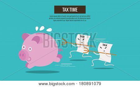Piggy bank run away from Tax bills catching. cartoon character. Tax burden abstract concept. thin line flat design. vector illustration