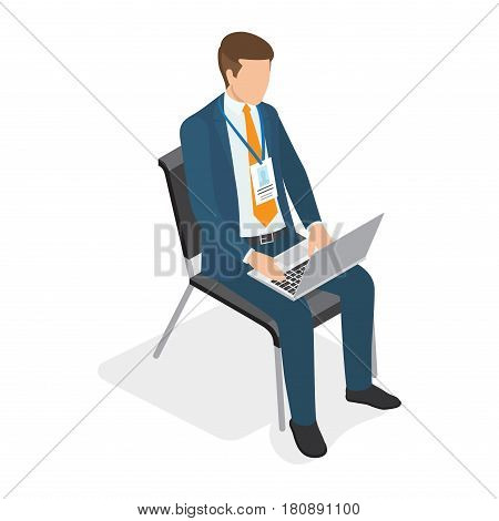 Businessman sitting on chair with laptop and typing isolated on white. Vector illustration of work process. Male cartoon faceless character business coaching concept in flat design cartoon style