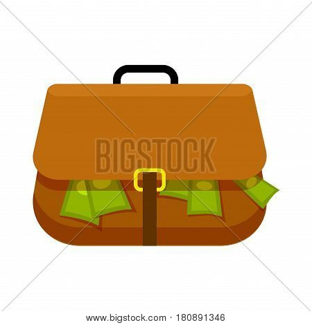 Brown briefcase full of green money flat theme on white background. Replete bag with black handle and yellow buckle. Vector illustration in cartoon style for infographics, web sites, mobile app.