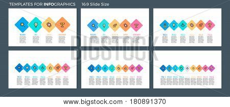 Business infographics. Presentation templates with 4, 5, 6, 7, 8, 9 connected squares. Vector infographic flowcharts, diagrams, timelines.