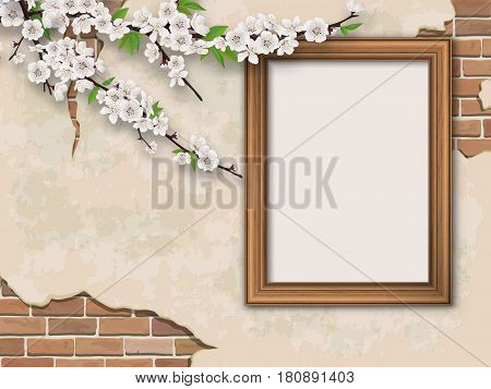 Blooming branches and golden picture frame on old wall background. Weathered plastered surface with cracks and brickwork.