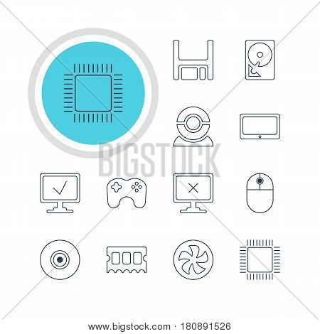 Vector Illustration Of 12 Computer Icons. Editable Pack Of Memory Chip, Cursor Manipulator, Tablet And Other Elements.