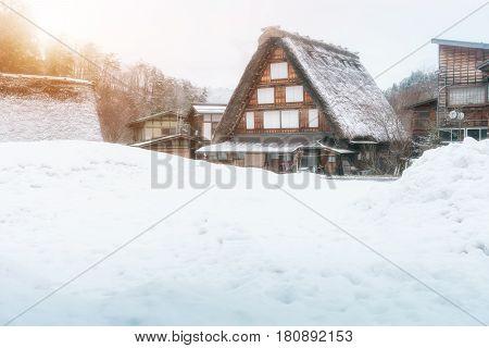 Thatch Roof Traditional Style House With Sun Light, Historic Village Shirakawago In Winter Season, J