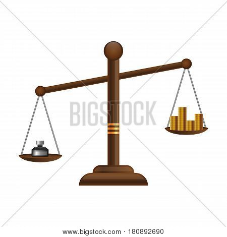Justice scales icon. Law balance symbol. Libra flat design with gold money coins.