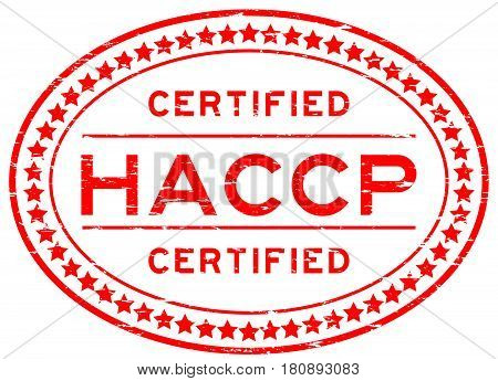 Grunge red HACCP (Hazard analysis and critical control points) oval rubber seal stamp