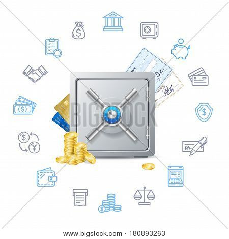 Banking Deposit Concept with Metal Safe and Finance Thin Line Icons Set. Vector illustration