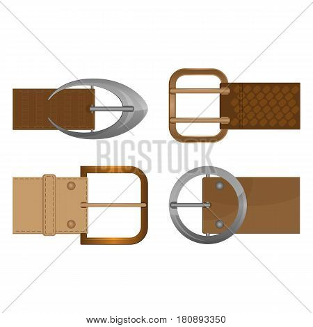 Belt buckles metal unisex clothing accessories worn on waistband. Vector illustration of metallic decorative objects of round, square and oval shape isolated on white background.