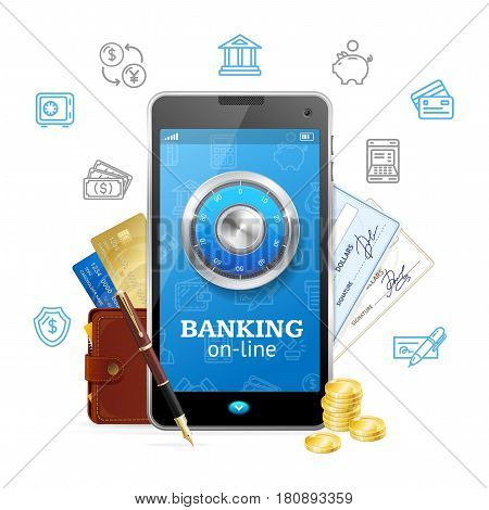 Banking Online Concept Mobile Phone App with Credit Card, Wallet, Cheque and Coins. Vector illustration