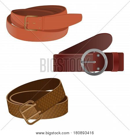 Set of leather waist belts isolated on background. Modern unisex accessories collection with buckles of different shapes. Vector illustration of clothing objects with metal strap element