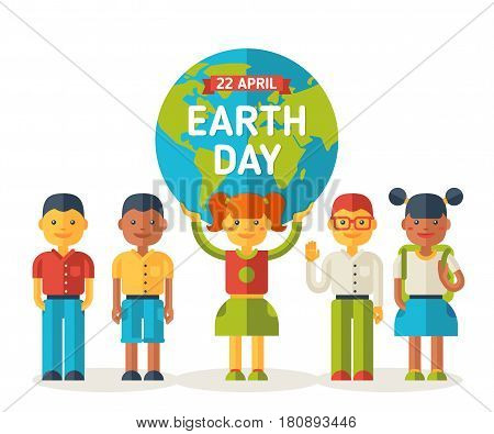 School friends with Earth planet. Earth day cute poster, go green. Vector illustration. Girl holding globe. Eco friendly concept.
