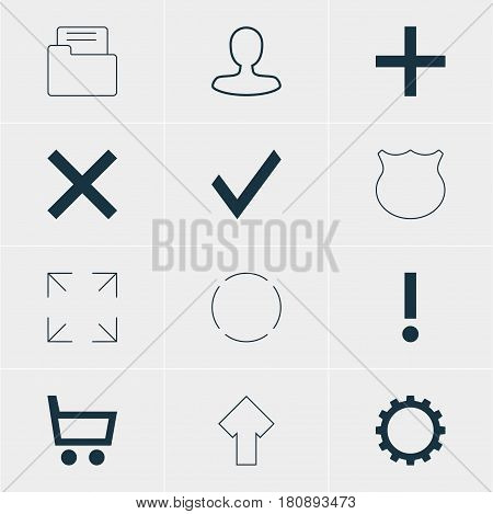 Vector Illustration Of 12 User Icons. Editable Pack Of Plus, Wide Monitor, Guard And Other Elements.