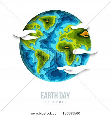 Earth planet with clouds, 3d paper cut design. Vector illustration. Happy Earth day concept, papercut shapes with shadow.