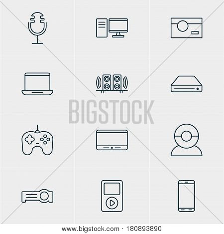 Vector Illustration Of 12 Accessory Icons. Editable Pack Of Media Controller, Computer, Monitor And Other Elements.