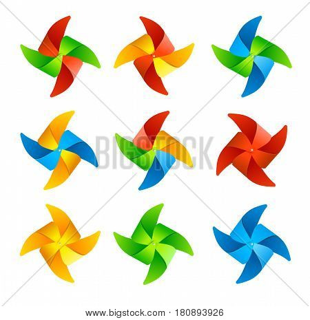 Colorful Wind Mill Set Isolated on a White Background Windmill Symbol of Summer. Vector illustration