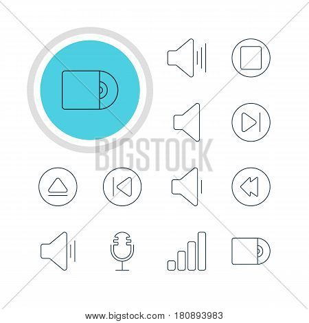 Vector Illustration Of 12 Melody Icons. Editable Pack Of Compact Disk, Pause, Subsequent And Other Elements.