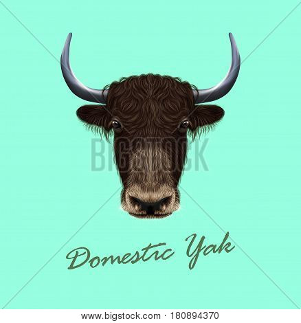 Vector Illustrated portrait of Domestic yak. Cute fluffy brown face of Bovid on blue background.