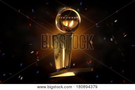 Golden basketball on a dark background. Winning Concept. 3D rendering