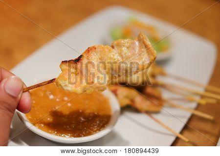 Grilled pork satay with peanut sauce Thai food