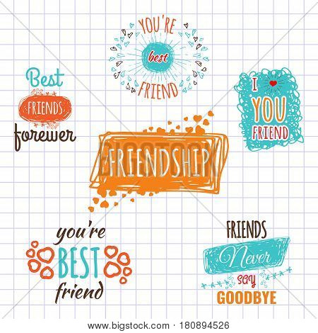 Best friend logos set with text vector labels isolated on copy book page. Friendship promotion stickers collection, hand drawn doodles logotypes. School life concept, friends forever calligraphy