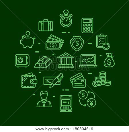 Banking and Accounting Icon Round Design Template Thin Line Set for Economy and Investments Business. Vector illustration
