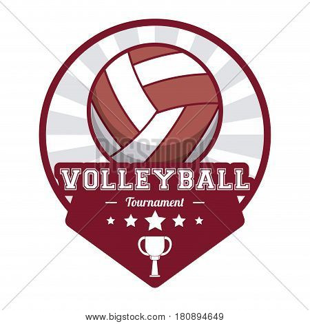 volleyball sport tournament stamp label vector illustration eps 10