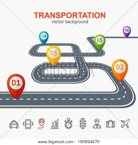 Transportation Concept Card or Poster for City Road with Location Mark and Icons Set. Vector illustration
