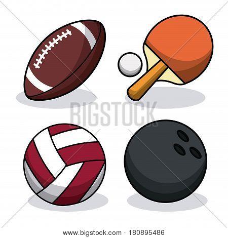 set sport balls equipment image vector illustration eps 10