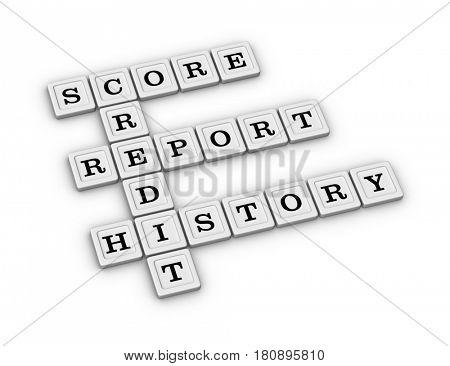Credit crossword - Score, Report, History. 3D illustration on white background.