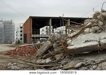 Demolition area of a factory building with rubbish