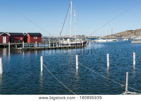 sweden westcoast outside Gothenburg beutiful little harbour and small boathouse