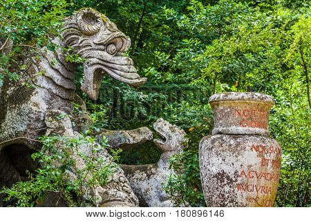 Orcus mouth sculpture at famous Parco dei Mostri (Park of the Monsters) also named Sacro Bosco (Sacred Grove) or Gardens of Bomarzo in Bomarzo province of Viterbo northern Lazio Italy