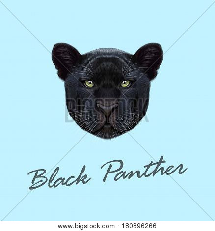 Vector Illustrated portrait of Black panther. Cute fluffy face of Big cat with green eyes on blue background.