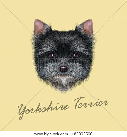 Vector Illustrated portrait of Yorkshire Terrier puppy. Cute fluffy grey face of domestic dog on tan background.