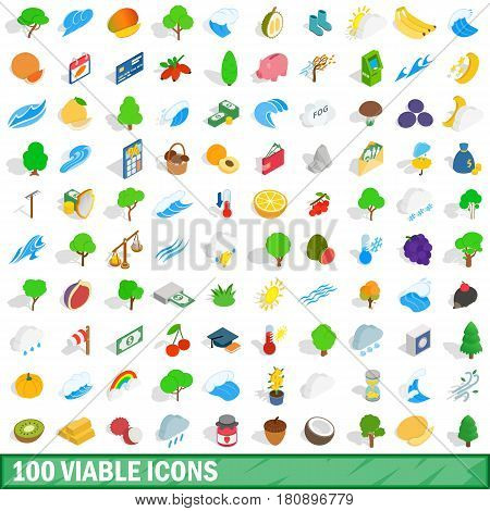 100 viable icons set in isometric 3d style for any design vector illustration