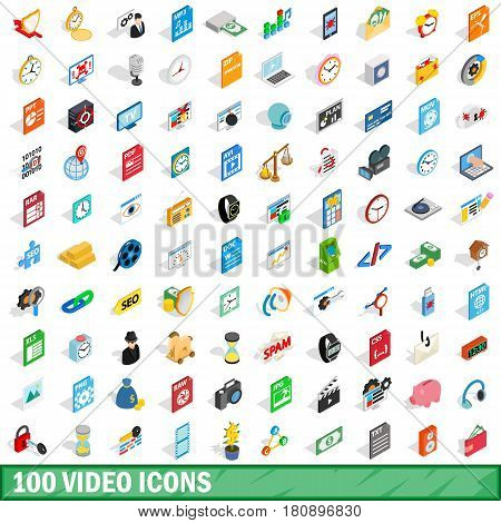 100 video icons set in isometric 3d style for any design vector illustration