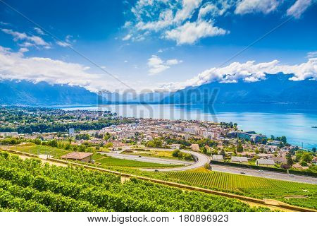 City Of Vevey At Lake Geneva With Vineyards In Summer, Switzerland