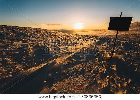 Golden Sunset At Winter Tundra's Road, Kola Peninsula, Russia