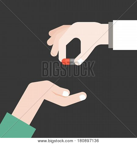 Pharmacist giving medicine to patient, flat design