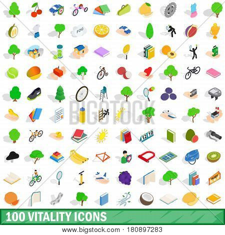 100 vitality icons set in isometric 3d style for any design vector illustration