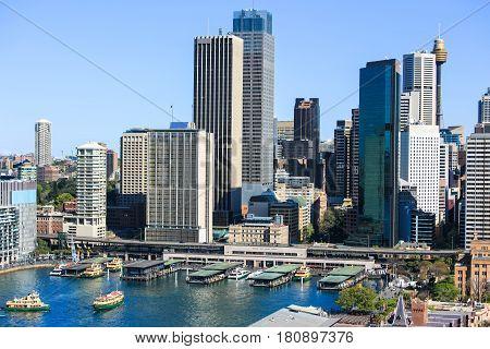 Sydney City Circular Quay from Sydney Harbour Bridge