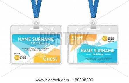 Id Card Template Plastic Badge with Abstract Geometric Bubble Speech. Vector illustration