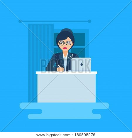 Vector illustration of business woman. Flat,  geometric, modern style. The female sits by the desk and writes. Business infographics. The woman in suit.