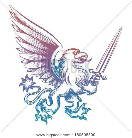 Colorful hand drawn heraldy griffon with sword isolated on white background. Vector illustration
