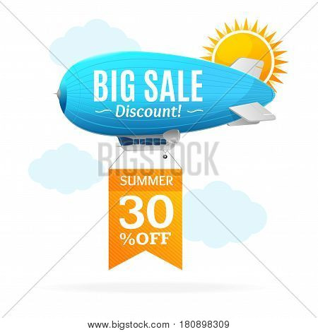 Sale Concept Labels with Airship Zeppelin in Sky Seasonal Discounts. Vector illustration