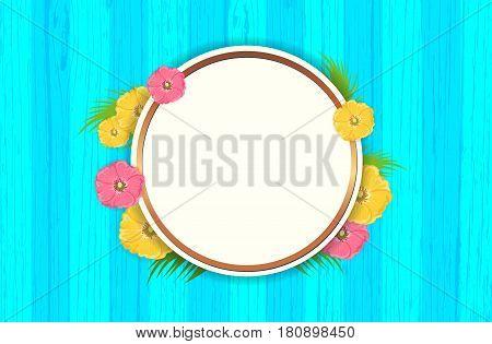 Summer Flowers Background or Summer floral Design on blue wooden background