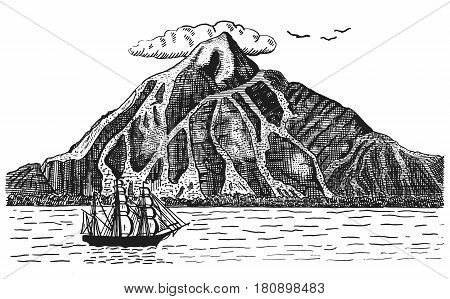 Ocean or sea with ship, sails next to volcano or mountain, hand drawn landscape illustration engraved pirate .
