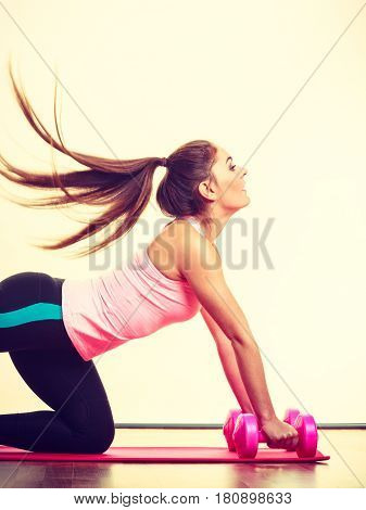 Fit Girl Exercising.