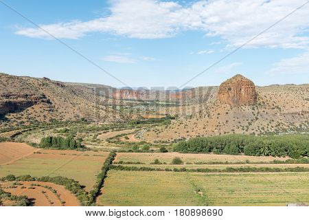 The view from the scenic Owl Route towards The Tower near Nieu-Betesda an historic village in the Eastern Cape Province
